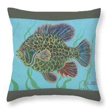 Bejeweled Bluegill Throw Pillow
