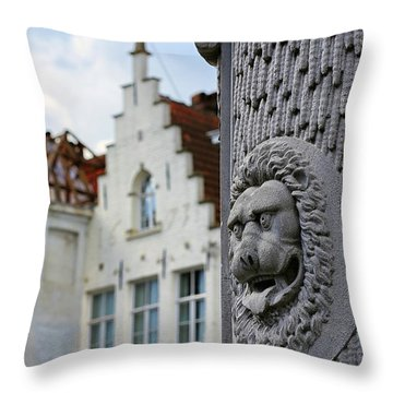 Throw Pillow featuring the photograph Belgian Coat Of Arms by Nathan Bush