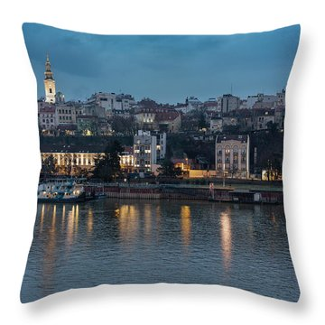 Belgrade Skyline And Sava River Throw Pillow