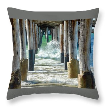 Throw Pillow featuring the photograph Below The Pier by Brian Eberly