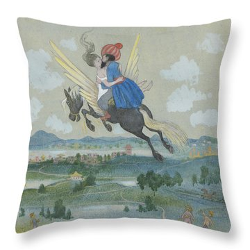 Throw Pillow featuring the drawing Ben Oni And The Lovely One Have Soon Had To Spend Many Miles Behind by Ivar Arosenius
