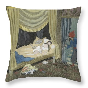 Throw Pillow featuring the drawing Ben Oni Is Not Late To Descend Into The Castle by Ivar Arosenius