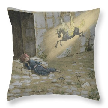 Throw Pillow featuring the drawing Ben Oni, The Son Of Sorrow, The Poor And Despised by Ivar Arosenius