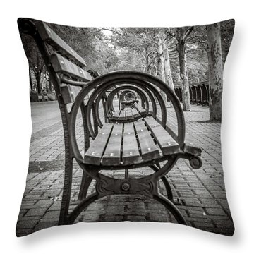 Throw Pillow featuring the photograph Bench Circles by Steve Stanger