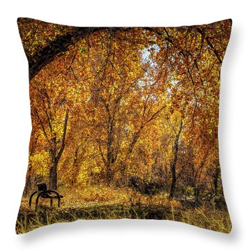 Bench With Autumn Leaves  Throw Pillow