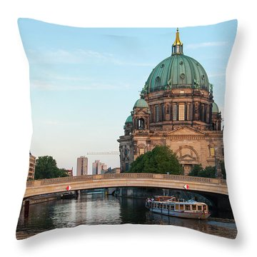 Berliner Dom And River Spree In Berlin Throw Pillow