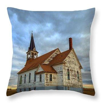 Bethel Scandinavian Lutheran Church At Sunset Throw Pillow