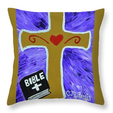 Throw Pillow featuring the painting Bible Study by Christopher Farris