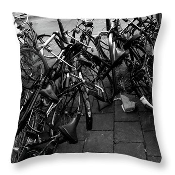 Throw Pillow featuring the photograph Bicycles  by Edward Lee