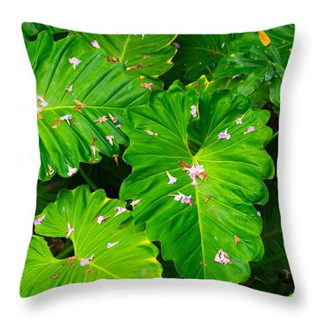 Big Green Leaves Throw Pillow