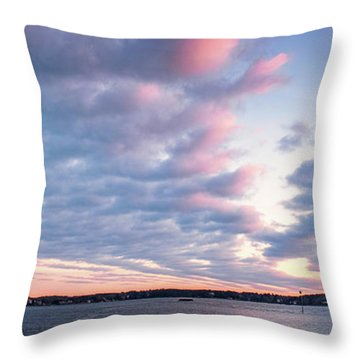 Big Sky Over Portsmouth Light. Throw Pillow