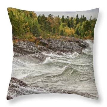 Big Waves In Autumn Throw Pillow