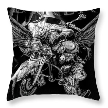 Biker Forever Bordered Black And White Throw Pillow