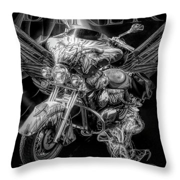 Biker Forever In Black And White Throw Pillow