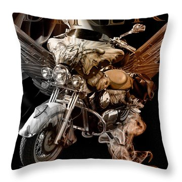 Biker Forever In Vintage Tones Throw Pillow