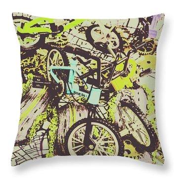 Bikes And City Routes Throw Pillow