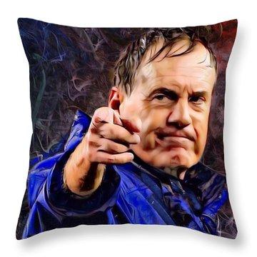 Bill Stephen Belichick Portrait Throw Pillow