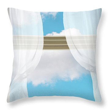 Billowing Voile Curtains Throw Pillow
