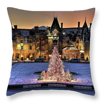Biltmore Christmas Night All Covered In Snow Throw Pillow