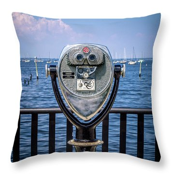 Throw Pillow featuring the photograph Binocular Viewer by Steve Stanger