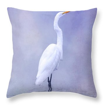 Bird In Water On Blue Throw Pillow