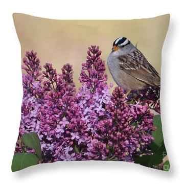 Bird On Lilac Flowers Throw Pillow