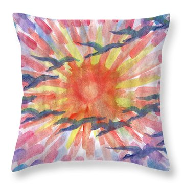 Throw Pillow featuring the painting Birds Abstraction by Dobrotsvet Art