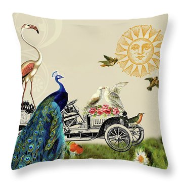 Birds Of A Feather In Paris, France Throw Pillow