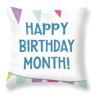 Birthday Month Flags- Art By Linda Woods Throw Pillow