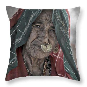 Bishnoi Woman Throw Pillow