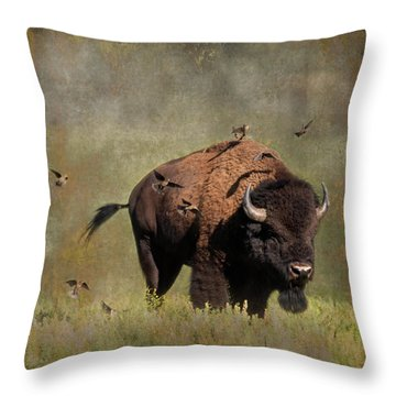 Bison And Friends Throw Pillow