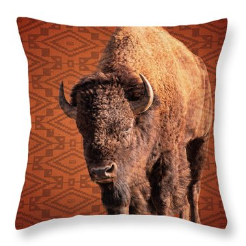 Bison Blanket Throw Pillow
