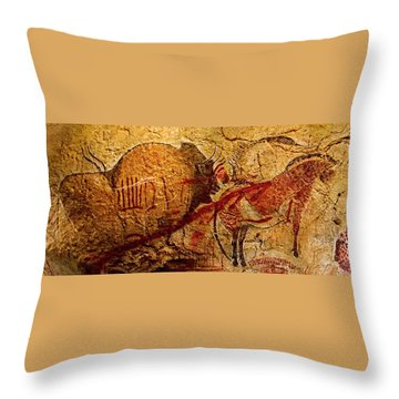 Bison Horse And Other Animals Closer - Narrow Version Throw Pillow