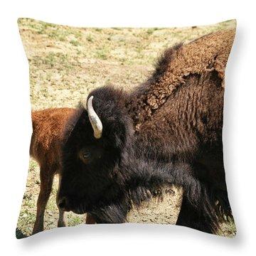 Bison In North Dakota Throw Pillow