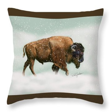 Bison In Snow Storm Throw Pillow