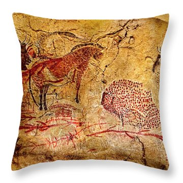 Bisons Horses And Other Animals Throw Pillow