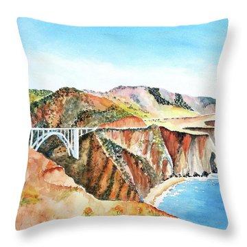 Bixby Bridge 3 Big Sur California Coast Throw Pillow