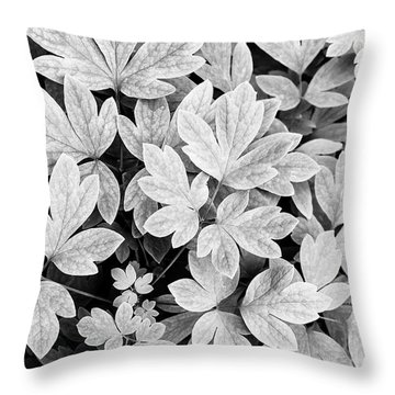 Black And White Abstract Leaves Throw Pillow