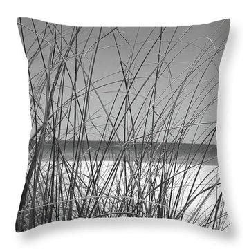 Black And White Beach View Throw Pillow