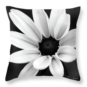 Black And White Daisy Flower Throw Pillow