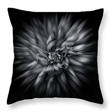Black And White Flower Flow No 5 Throw Pillow