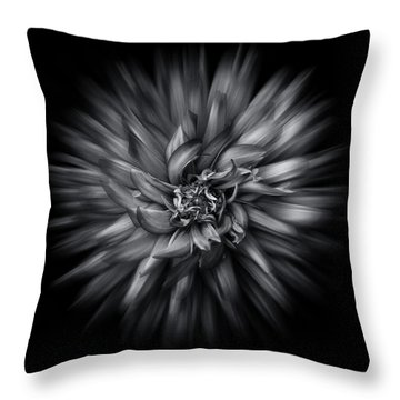 Black And White Flower Flow No 5 Throw Pillow
