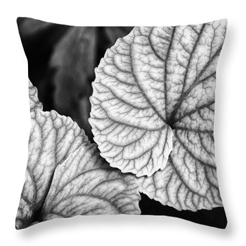 Black And White Leaves Abstract Throw Pillow