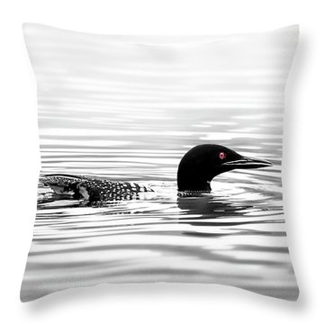 Black And White Loon  Throw Pillow
