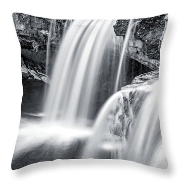 Throw Pillow featuring the photograph Black And White Ludlow Falls by Dan Sproul