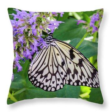 Black And White On Purple Throw Pillow