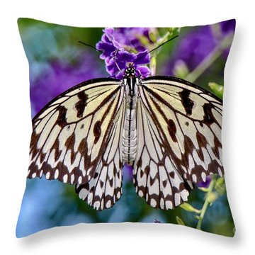Black And White Paper Kite Butterfly Throw Pillow