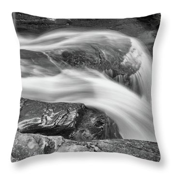 Black And White Rushing Water Throw Pillow
