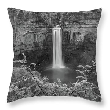 Throw Pillow featuring the photograph Black And White Taughannock Falls by Dan Sproul