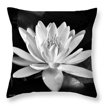 Black And White Water Lily Throw Pillow